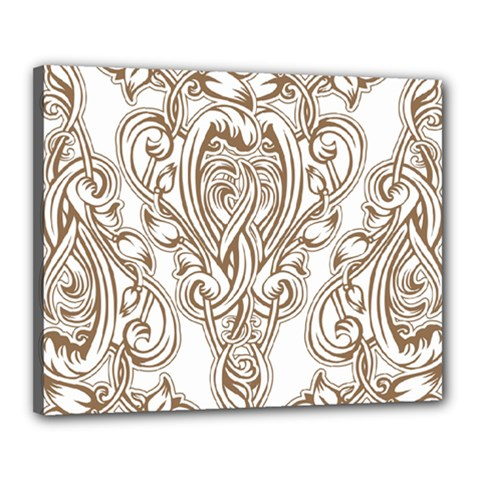 Beautiful Gold Floral Pattern Canvas 20  X 16  by 8fugoso