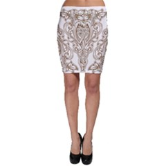 Beautiful Gold Floral Pattern Bodycon Skirt