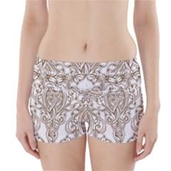 Beautiful Gold Floral Pattern Boyleg Bikini Wrap Bottoms by 8fugoso