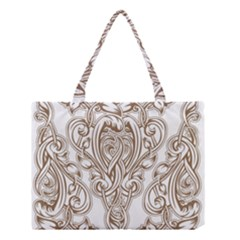 Beautiful Gold Floral Pattern Medium Tote Bag by 8fugoso