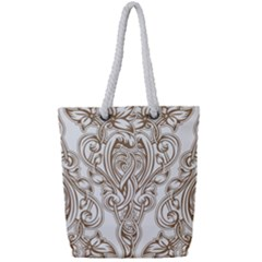 Beautiful Gold Floral Pattern Full Print Rope Handle Tote (small) by 8fugoso