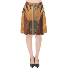 Art Deco Gold Velvet High Waist Skirt by 8fugoso