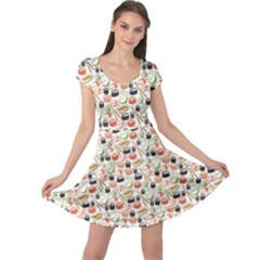 Colorful Pattern With Sushi Cap Sleeve Dress