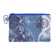 Mystic Blue Flower Canvas Cosmetic Bag (large) by Cveti