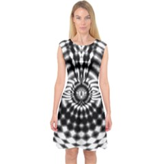 Ornaments Pattern Black White Capsleeve Midi Dress by Cveti