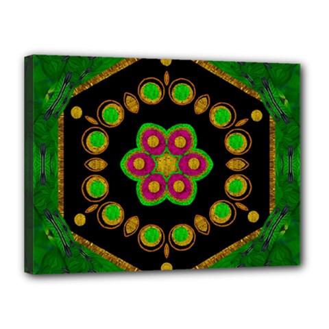 Magic Of Life A Orchid Mandala So Bright Canvas 16  X 12  by pepitasart