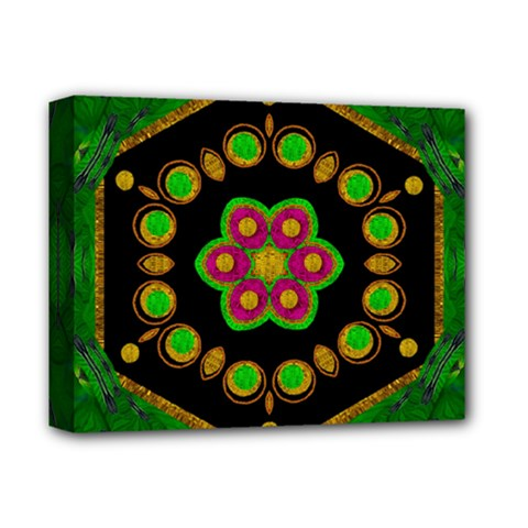 Magic Of Life A Orchid Mandala So Bright Deluxe Canvas 14  X 11  by pepitasart