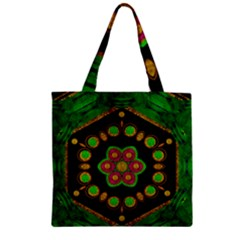 Magic Of Life A Orchid Mandala So Bright Zipper Grocery Tote Bag by pepitasart