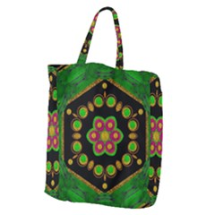 Magic Of Life A Orchid Mandala So Bright Giant Grocery Zipper Tote by pepitasart
