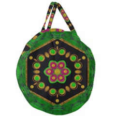 Magic Of Life A Orchid Mandala So Bright Giant Round Zipper Tote by pepitasart