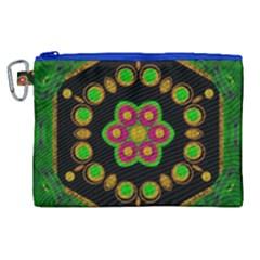 Magic Of Life A Orchid Mandala So Bright Canvas Cosmetic Bag (xl) by pepitasart