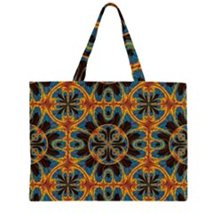 Tapestry Pattern Zipper Large Tote Bag by linceazul