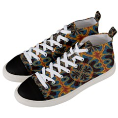 Tapestry Pattern Men s Mid Top Canvas Sneakers by linceazul