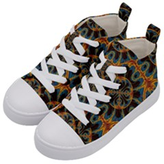Tapestry Pattern Kid s Mid Top Canvas Sneakers by linceazul