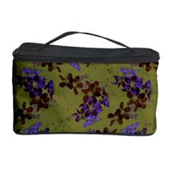 Green Purple And Orange Pear Blossoms Cosmetic Storage Case by ssmccurdydesigns