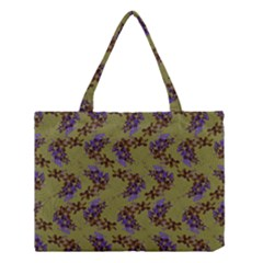 Green Purple And Orange Pear Blossoms Medium Tote Bag by ssmccurdydesigns