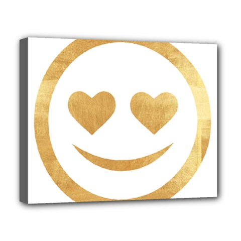 Gold Smiley Face Deluxe Canvas 20  X 16   by 8fugoso