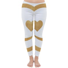 Gold Smiley Face Classic Winter Leggings by 8fugoso