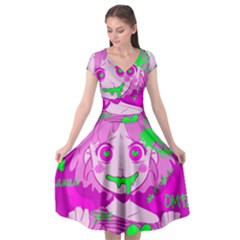 Fujoshi Cap Sleeve Wrap Front Dress by psychodeliciashop