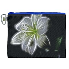 White Lily Flower Nature Beauty Canvas Cosmetic Bag (xxl) by Celenk