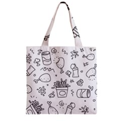 Set Chalk Out Scribble Collection Zipper Grocery Tote Bag by Celenk
