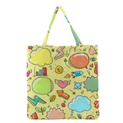 Cute Sketch Child Graphic Funny Grocery Tote Bag by Celenk