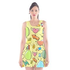 Cute Sketch Child Graphic Funny Scoop Neck Skater Dress by Celenk