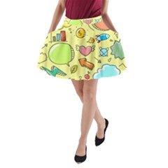 Cute Sketch Child Graphic Funny A Line Pocket Skirt by Celenk