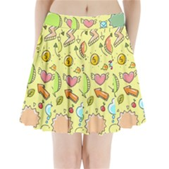 Cute Sketch Child Graphic Funny Pleated Mini Skirt by Celenk