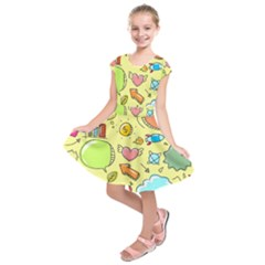 Cute Sketch Child Graphic Funny Kids  Short Sleeve Dress