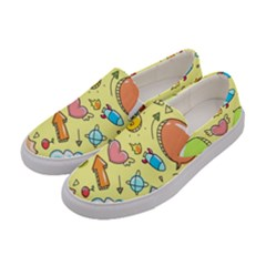 Cute Sketch Child Graphic Funny Women s Canvas Slip Ons by Celenk