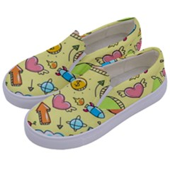 Cute Sketch Child Graphic Funny Kids  Canvas Slip Ons by Celenk