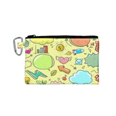 Cute Sketch Child Graphic Funny Canvas Cosmetic Bag (small) by Celenk