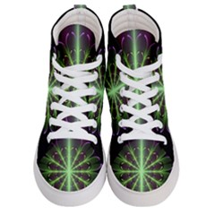 Fractal Purple Lime Pattern Men s Hi Top Skate Sneakers