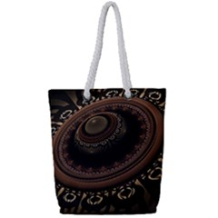 Fractal Stripes Abstract Pattern Full Print Rope Handle Tote (small)