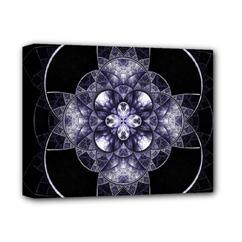 Fractal Blue Denim Stained Glass Deluxe Canvas 14  X 11  by Celenk