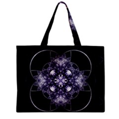 Fractal Blue Denim Stained Glass Zipper Mini Tote Bag by Celenk