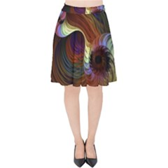 Fractal Colorful Rainbow Flowing Velvet High Waist Skirt by Celenk