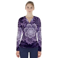 Fractal Floral Striped Lavender V Neck Long Sleeve Top