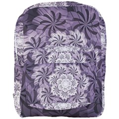 Fractal Floral Striped Lavender Full Print Backpack by Celenk