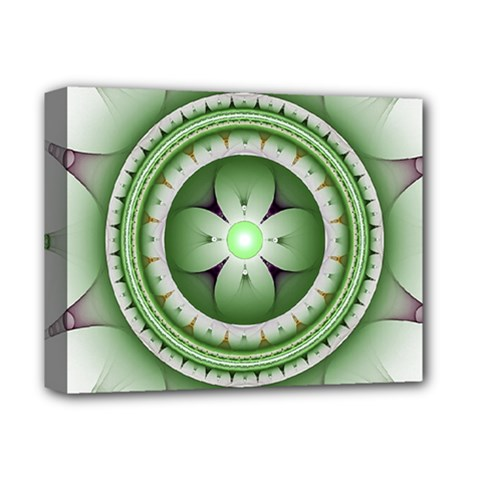 Fractal Mandala Green Purple Deluxe Canvas 14  X 11  by Celenk