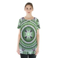 Fractal Mandala Green Purple Skirt Hem Sports Top
