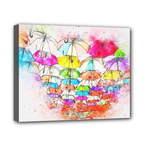 Umbrella Art Abstract Watercolor Canvas 10  X 8  by Celenk