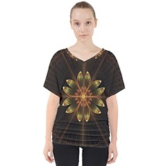Fractal Floral Mandala Abstract V Neck Dolman Drape Top