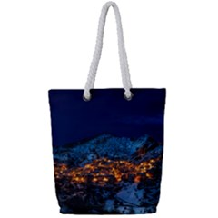 Castelmezzano Italy Village Town Full Print Rope Handle Tote (small)