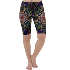 Fractal Detail Elements Pattern Cropped Leggings  by Celenk