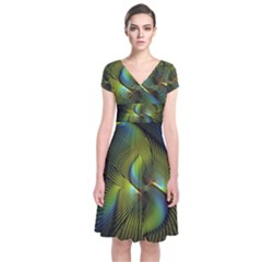 Fractal Abstract Design Fractal Art Short Sleeve Front Wrap Dress