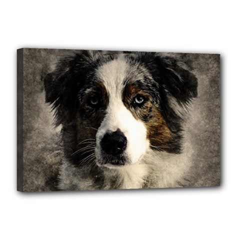 Dog Pet Art Abstract Vintage Canvas 18  X 12