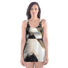 Dog Pet Art Abstract Vintage Skater Dress Swimsuit