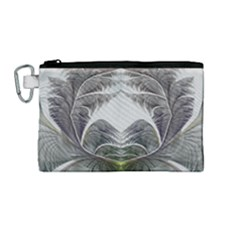 Fractal White Design Pattern Canvas Cosmetic Bag (medium) by Celenk